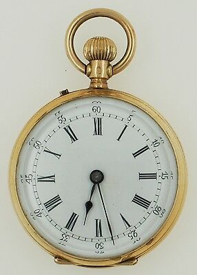 Antique Remontoir Cylindre Huit Rubis 14K Yellow Gold Small Pocket Watch • 292.58£