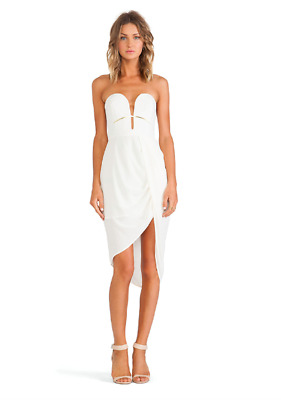 $149.99 • Buy Zimmermann 0 (US 4) NWT Pearl White Silk Curve Bar Plunging Draped Dress- $415