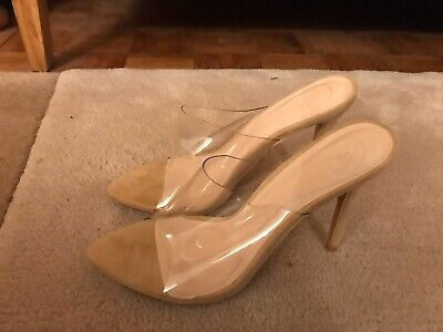 Miss Guided Size 6 Clear Mules Pointed Toe Nude High Heel Fashion Shoe RRP £35 • 4.20£