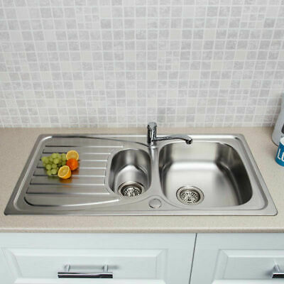 Stainless Steel Kitchen Sink Unit 1.5 Double Bowl Drainer Strainer Wastes Plumb • 68.95£