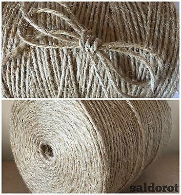 2 / 4 / 6mm ❁ Soft Natural Jute Sisal String Hessian Burlap Rustic Wedding Party • 2.69£