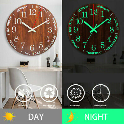 12 Inch Luminous Wall Clock Wooden Glow In The Dark With Night Light Home Decor • 12.29£