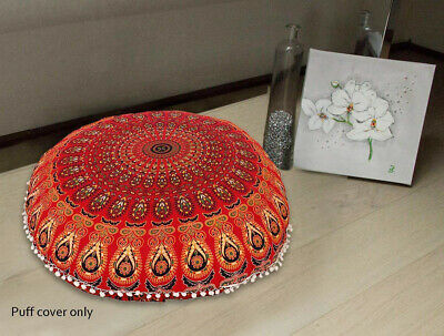 Red Peacock Mandala Floor Pillow Round Meditation Cushion Cover 82 Cm (32 ) • 8.99£