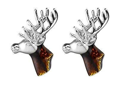 STAG HEAD CUFFLINKS Pair Novelty Shirt Suit Birthday Steel Glass Cuff Link Gift • 4.79£