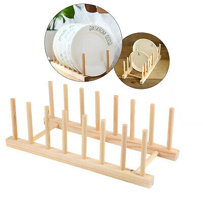 £3.59 • Buy Wooden 7 Dishes Rack Kitchen Storage Drying Holder Drainer Plate Cup  Stand