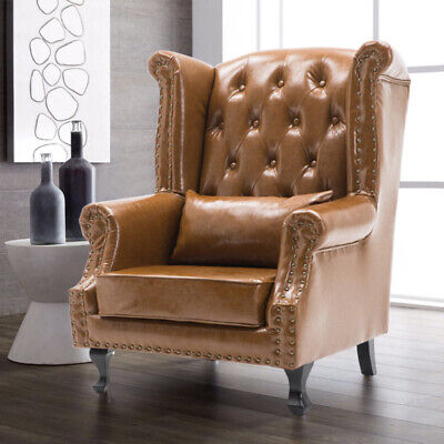 £249.95 • Buy Chesterfield High Back Chair Wing Back Button Antique Armchair Leather Fireside