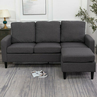 Scandinavian 3 Seater Small Corner L Shaped Left Right Hand Sofa Settee Fabric • 308.95£
