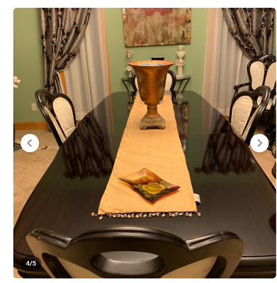 $1699.99 • Buy Italian Mahogany Lacquered Wood Dining Table Set + 2 Extension Leaves, 6 Chairs