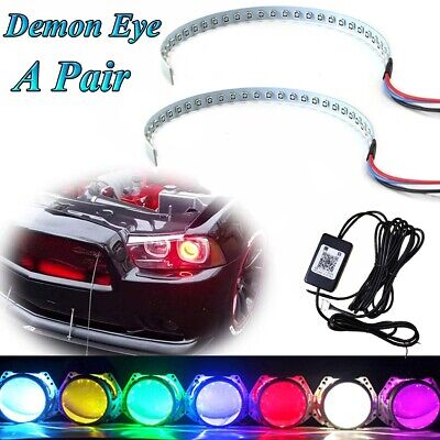 $23.99 • Buy RGB Color LED Demon Eye Bluetooth APP Control Halo Ring Headlight Projector Kit