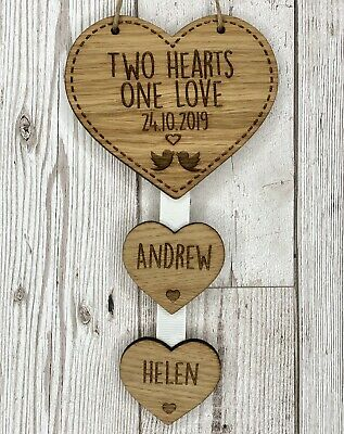 Personalised 2 Hearts One Love Hanging Heart Wedding Anniversary Valentines Gift • 6.95£