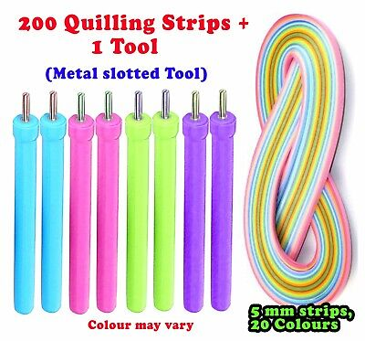 £3.95 • Buy 5mm 200 Paper Strips And 1 Quilling Tool Craft UK SELLER Craft DIY Decor Kit Kid