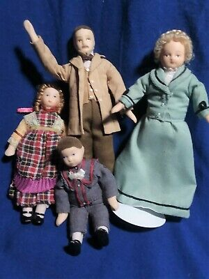 $ CDN75.76 • Buy Very Nice Victorian Family 4 Dollhouse Dolls -Flocked Hair, Great Clothes!