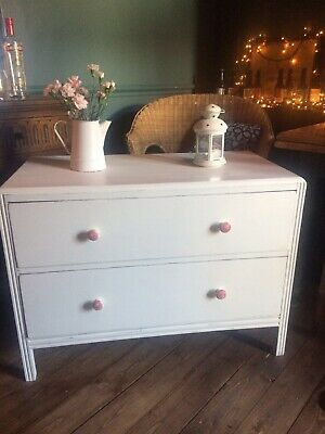 Annie Sloan/hand Painted/chest Of Drawers/white/shabby Chic/vintage • 45£
