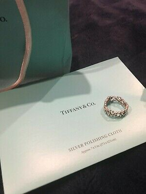 Tiffany Paloma Picasso Loving Heart Band Ring Sterling Silver Size 5 In BoxAUTH • 75£