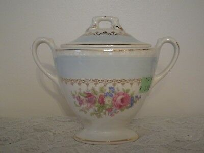 $30 • Buy Homer Laughlin Georgian Blue Chateau Covered Sugar Bowl -  Excellent