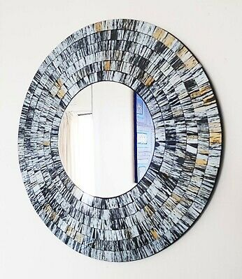 Round Mosaic Wall Mirror, Grey And Gold Brushed, Hand Made In Bali, 40cm-NEW • 33.99£
