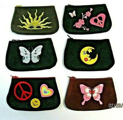 $11.33 • Buy  Suede & Leather Coin Purses, Peace, Love, Sun, Moon & Star. Butterflies, New