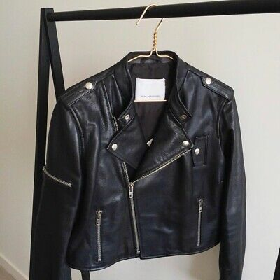 AU525 • Buy Scanlan Theodore Leather Cropped Biker Jacket Size 12 As New