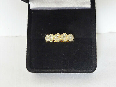 $625 • Buy Estate Antique 18K Yellow Gold Heart W/ Diamond Band Style Ring Sz 4