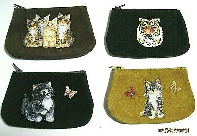 $11.33 • Buy  Suede & Leather Coin Purses, Cats, Handmade, New