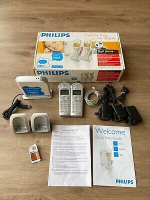 Philips Cordless VOIP Phone Model VOIP 3211 In Box Dual Handsets • 24.84£