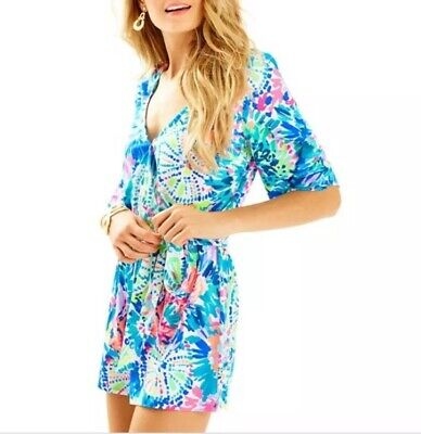 $49.50 • Buy Lilly Pulitzer Madilyn Romper XS Blue Pink Green V Neck