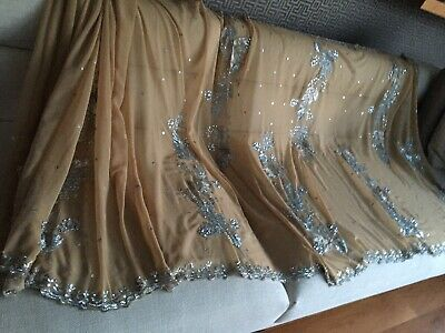 Beige  Indian Georgette Saree For Party/Wedding Wear Free Blouse Size10/12 • 20£