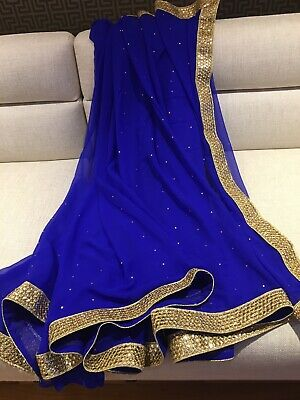 Plain Blue Indian Georgette Saree Only For Party, Wedding Wear • 15£