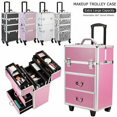 $88.39 • Buy Professional Rolling Makeup Trolley Case Aluminum Nail Cosmetic Beauty Train Box
