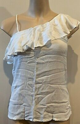AU16.95 • Buy Abercrombie & Fitch Hollister Womens Ivory One Shoulder Ruffle Tank Top Sz S NWT