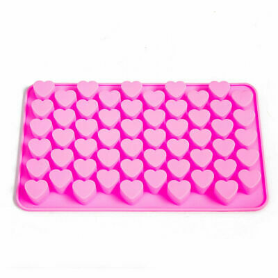 55 Pink Mini Love Hearts Silicone Mould Chocolate Fondant Jelly Ice Cube Mold • 1.78£