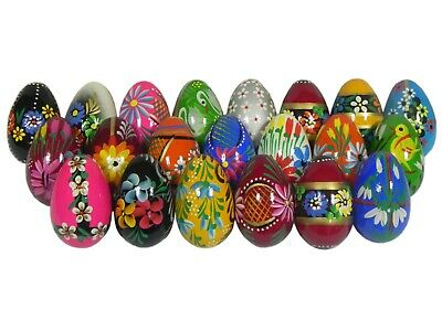 £7.99 • Buy Hand-painted Wooden Easter Eggs Egg Decorations No Plastic Chocolate Set 5 Eggs