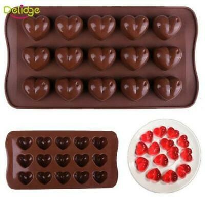 15 Love Hearts Silicone Mould Chocolate Fondant Jelly Ice Cube Mold • 2.31£