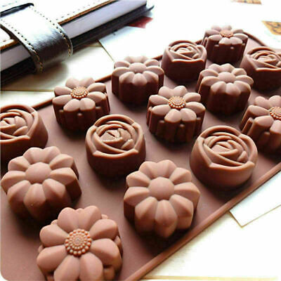 15 Rose Flowers Silicone Mould Chocolate Fondant Jelly Ice Cube Mold • 2.47£