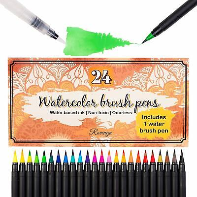 $19.99 • Buy 24 Premium Watercolor Brush Pen Set Water Markers For Adults With Nylon Brush Ti
