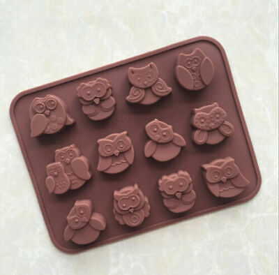 12 Funny Owls Silicone Mould Chocolate Fondant Jelly Ice Cube Mold • 2.93£