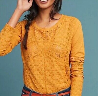 $ CDN49.49 • Buy Anthropologie Eze Sur Mer Small Embroidered Top Mustard Yellow Crochet $78