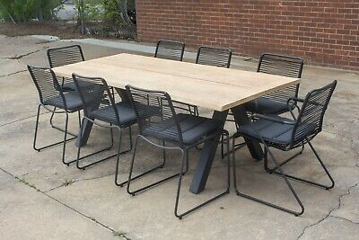AU1999 • Buy Wharf - 9 Piece Outdoor Setting - Solid Acacia Timber Table Top