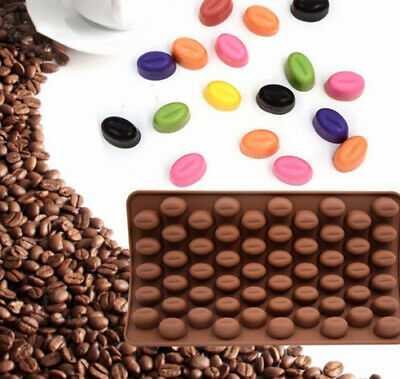 55 Coffee Beans Silicone Mould Chocolate Fondant Jelly Ice Cube Mold • 2.33£