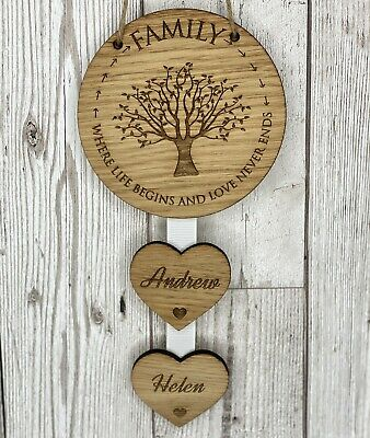 Personalised Family Where Life Begins Hanging Heart New Home Housewarming Gift • 8.95£