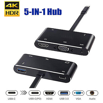 AU59.95 • Buy 5in1 USB C To HDMI VGA Hub Adapter Type C To HDMI USB3.0 Port Dongle Converter