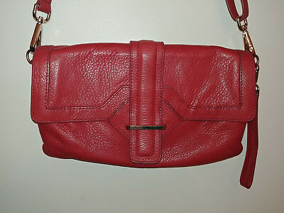 $ CDN35 • Buy DANIER Womens SML Red Pebbled Leather Crossbody Shoulder Clutch Handbag Purse