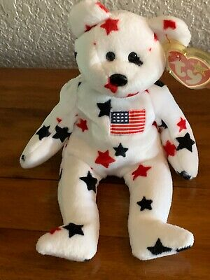 $149 • Buy TY PATRIOTIC Beanie Baby Bears - (2) USA 2000 And (2) GLORY 1997