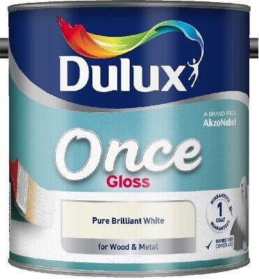Dulux Retail Once Gloss Pure Brilliant White 750ml / 1.25L / 2.5 Litres • 14.24£