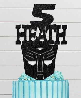 """Transformers Autobot 8"""" Personalised Birthday Cake Topper Name & Age • 7£"""