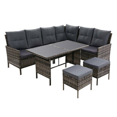 AU862.95 • Buy Outdoor Sofa Set Patio Furniture Lounge Setting Dining Chair Table Wicker Grey