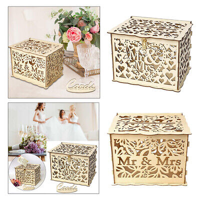 Wedding Card Post Wooden Box Collection Gift Card Boxes W/Lock Mr & Mrs Letters • 10.95£