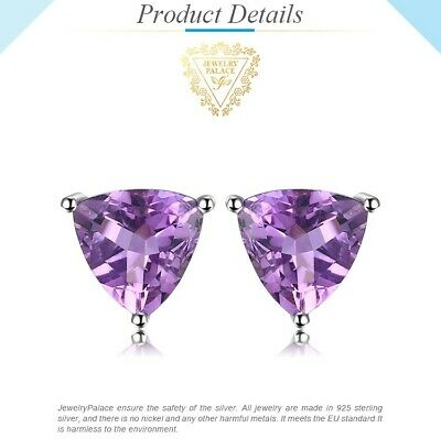 1.4 Ct Triangle Genuine Amethyst Stud Sterling Silver Earrings • 11.49£