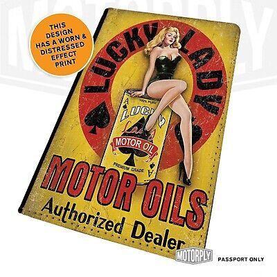 £9.95 • Buy Passport Cover - Lucky Lady - Motor Oil Art Cards Gamble Vintage Grunge