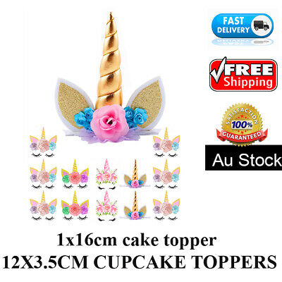 AU8.99 • Buy 🏅 13PCS UNICORN CAKE  CUPCAKE TOPPER EDIBLE WAFER BIRTHDAY Party Baby Gifts Kid